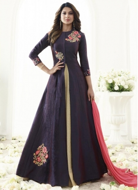 Cream and Purple Embroidered Work Long Length Designer Suit