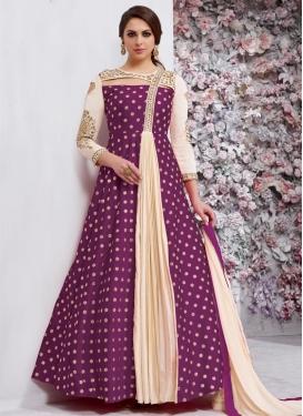 Cream and Purple Floor Length Designer Salwar Suit
