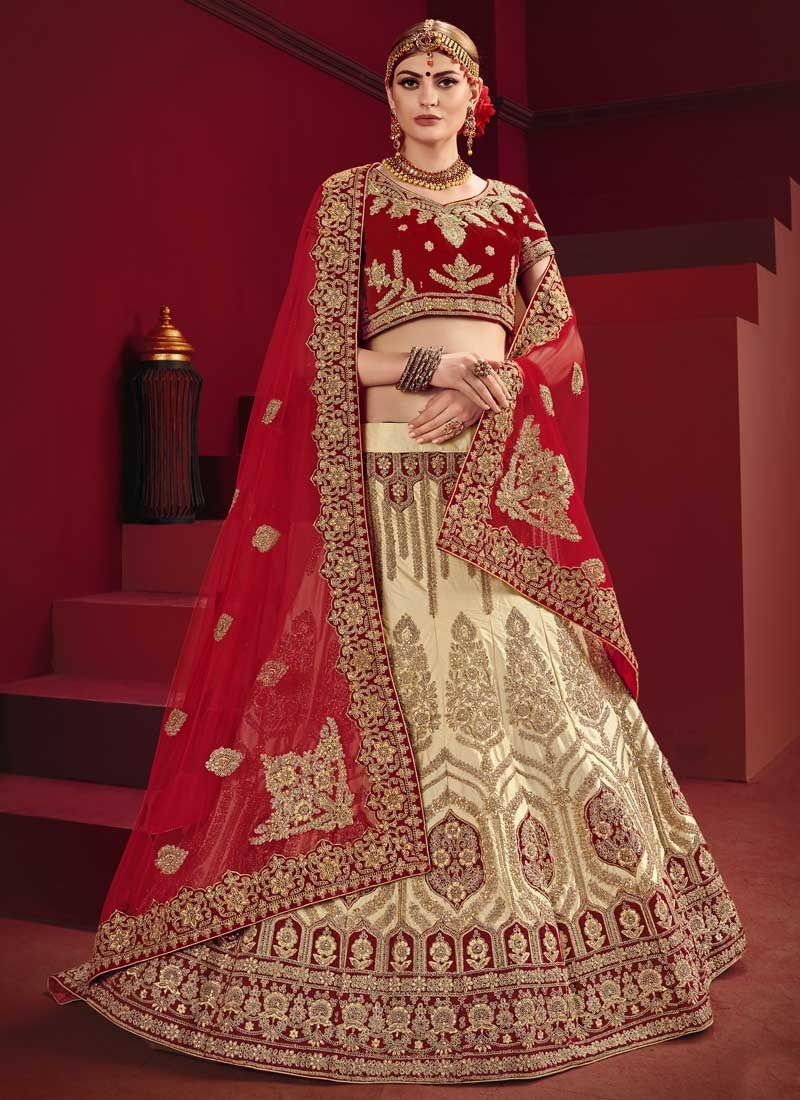 Cream and Red A Line Lehenga Choli For Bridal