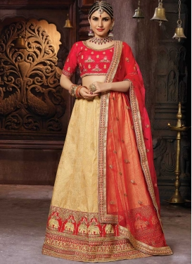 Cream and Red Art Silk Lehenga Choli