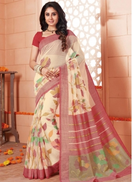 Cream and Red Art Silk Traditional Saree