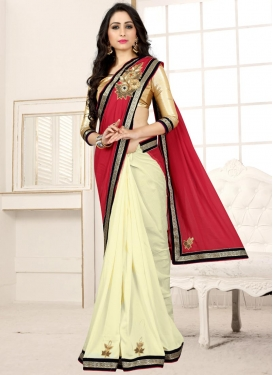 Cream and Red Beads Work Faux Georgette Half N Half Saree