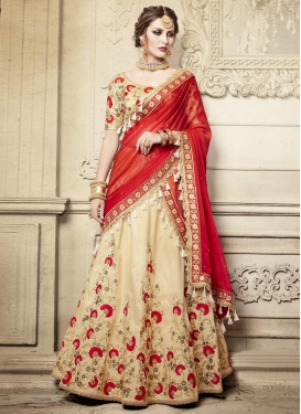 Cream and Red Beads Work Trendy Lehenga Choli