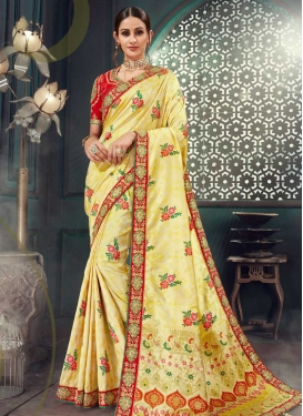 Cream and Red Bhagalpuri Silk Traditional Saree For Festival