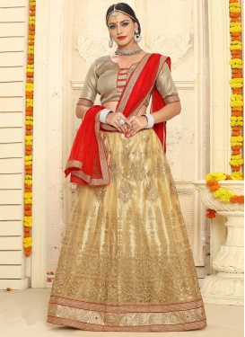 Cream and Red Booti Work A Line Lehenga Choli