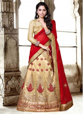 Cream and Red Booti Work Net A - Line Lehenga