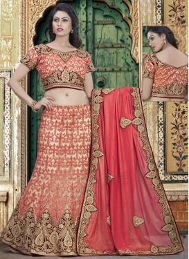 Cream and Red Booti Work Trendy A Line Lehenga Choli