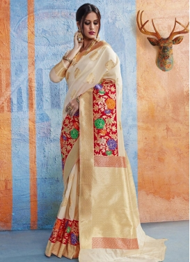 Cream and Red Contemporary Style Saree