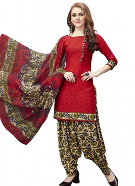 Cream and Red Crepe Silk Semi Patiala Salwar Kameez