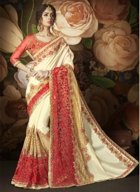 Cream and Red Designer Contemporary Saree For Ceremonial