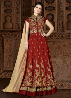 Cream and Red Designer Kameez Style Lehenga For Party