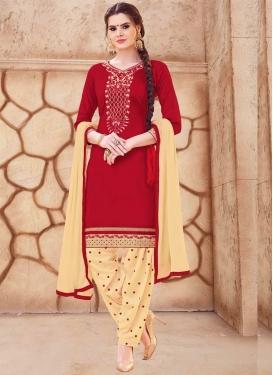 Cream and Red Designer Patiala Salwar Kameez For Ceremonial