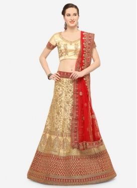 Cream and Red Embroidered Work Designer Classic Lehenga Choli