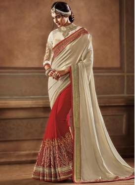 Cream and Red Embroidered Work Half N Half Trendy Saree
