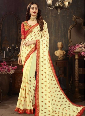 Cream and Red Embroidered Work Silk Georgette Designer Contemporary Style Saree