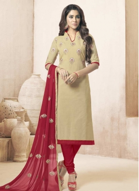 Cream and Red Embroidered Work Trendy Churidar Salwar Suit