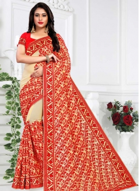 Cream and Red Faux Georgette Classic Saree
