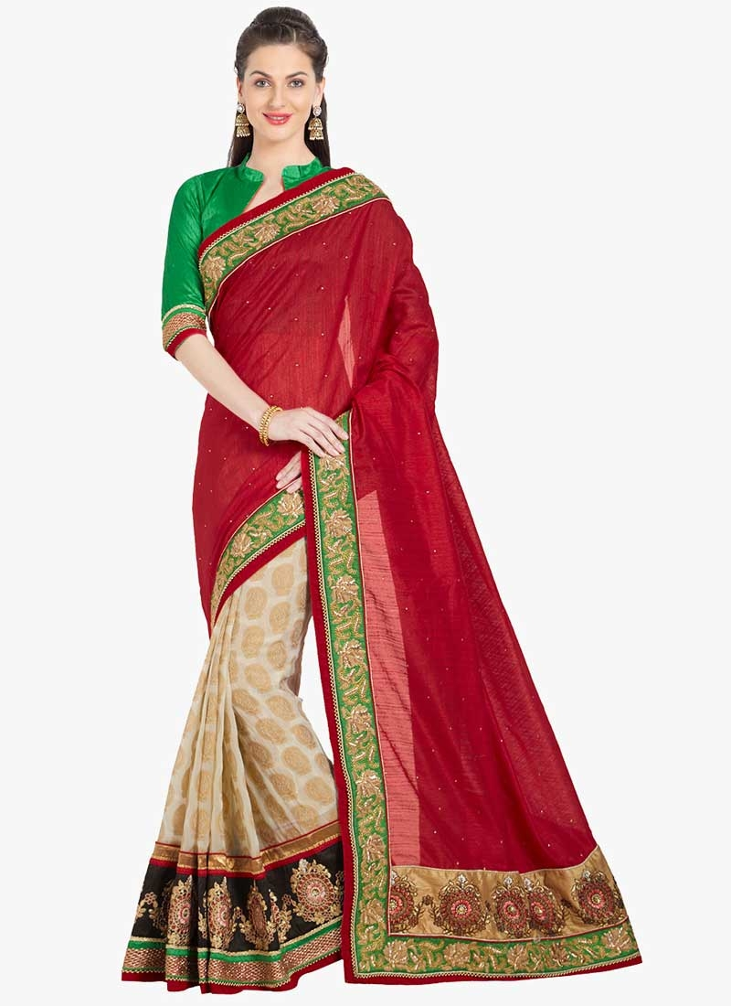 Cream and Red Faux Georgette Half N Half Saree