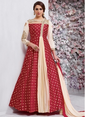 Cream and Red Floor Length Designer Suit For Festival
