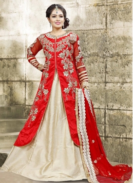 Cream and Red Kameez Style Lehenga For Party