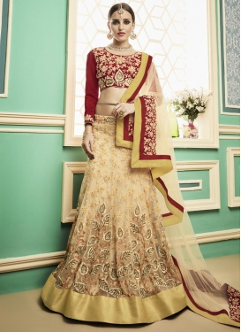Cream and Red Net Designer A Line Lehenga Choli For Festival