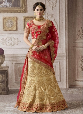 Cream and Red  Net Trendy Lehenga