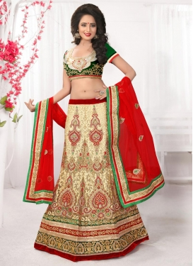 Cream and Red Net Trendy Lehenga Choli