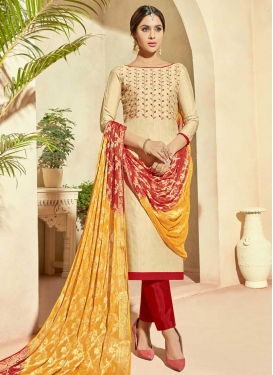 Cream and Red Pant Style Straight Salwar Suit For Festival