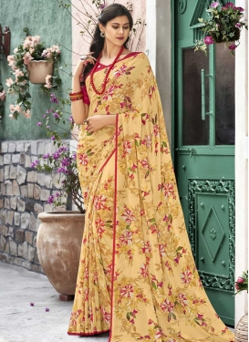 Cream and Red Print Work Trendy Classic Saree