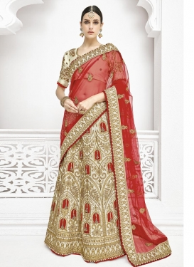 Cream and Red Satin Silk A - Line Lehenga For Bridal