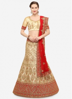 Cream and Red Satin Silk Trendy Lehenga