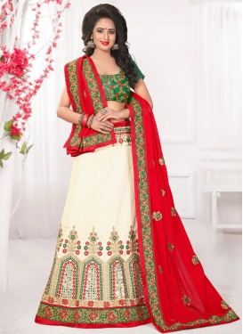 Cream and Red Silk A - Line Lehenga
