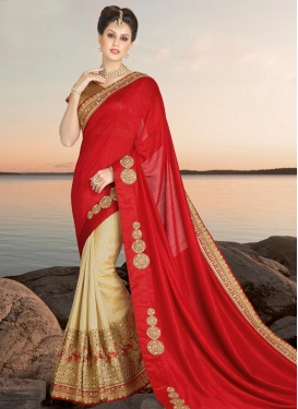 Cream and Red Silk Half N Half Trendy Saree For Festival