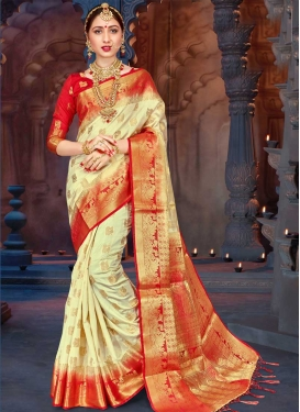 Cream and Red Thread Work Traditional Saree