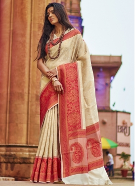 Cream and Red Traditional Saree