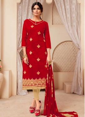 Cream and Red Trendy Churidar Salwar Kameez For Casual