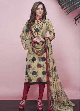 Cream and Red Trendy Churidar Suit For Casual