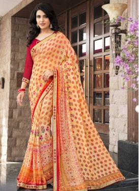 Cream and Red Trendy Classic Saree For Ceremonial