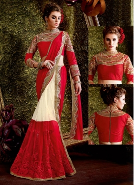 Cream and Red Trendy Designer Saree
