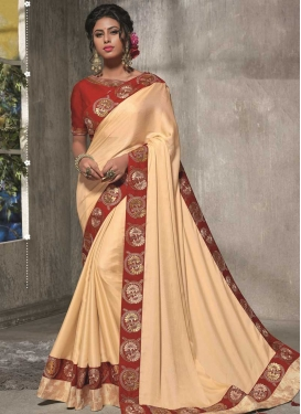 Cream and Red Trendy Saree For Ceremonial