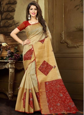 Cream and Red Trendy Saree For Festival
