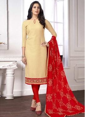 Cream and Red Trendy Straight Salwar Suit