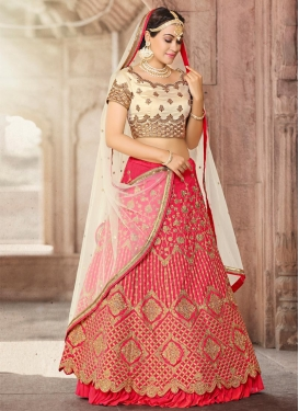 Cream and Rose Pink A - Line Lehenga