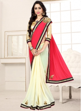 Cream and Rose Pink Beads Work Half N Half Designer Saree