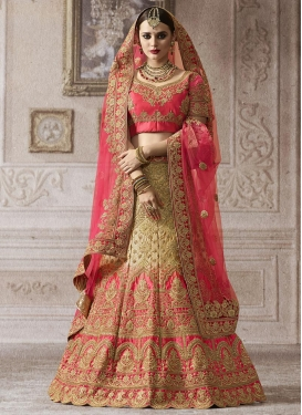 Cream and Rose Pink Booti Work Net Trendy Lehenga Choli
