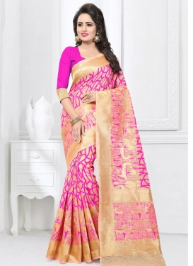 Cream and Rose Pink Classic Saree