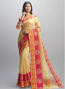 Cream and Rose Pink Cotton Silk Classic Saree