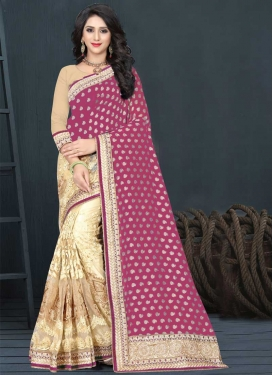 Cream and Rose Pink Embroidered Work Designer Half N Half Saree