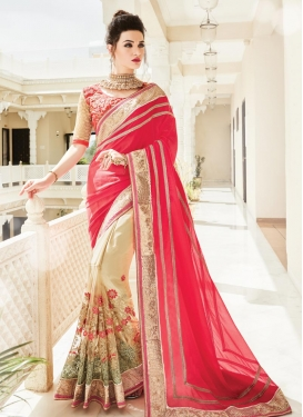 Cream and Rose Pink Half N Half Trendy Saree For Ceremonial
