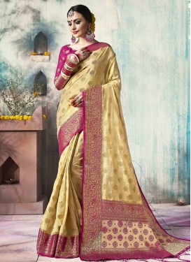 Cream and Rose Pink Jacquard Silk Classic Saree